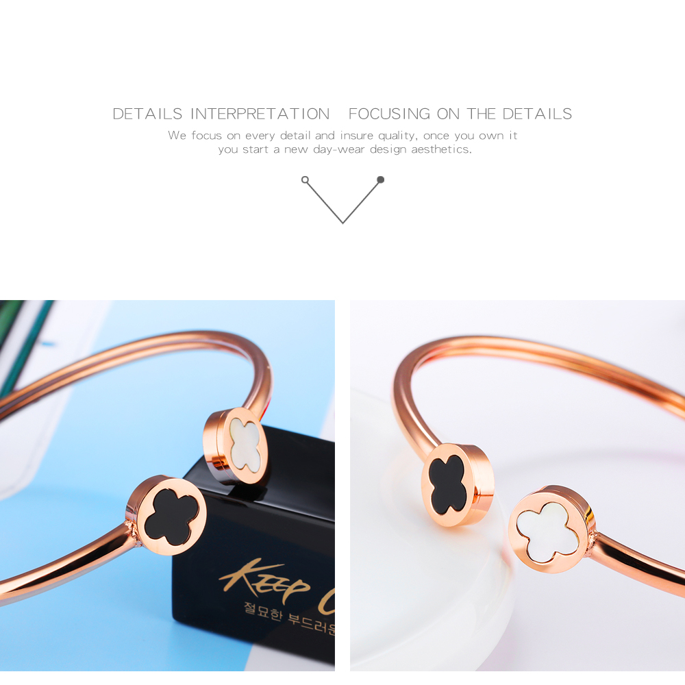 Wholesale New Design Girls Stainless Steel Shell Rose Gold Four Leaf Clover Bangle