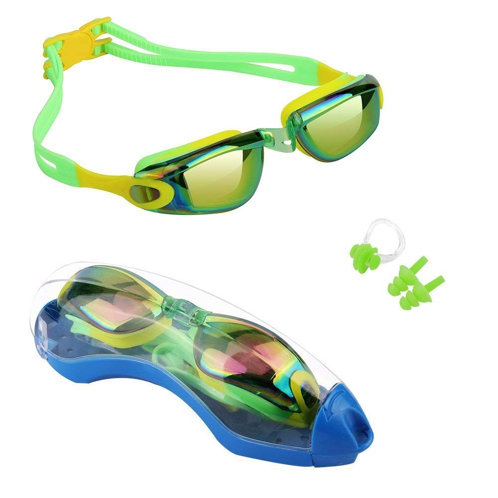 Hurdilen Kids Swim Goggles, Swim Goggles for kids Swimming Goggles with Anti-Fog UV Protection No Leaking Coated Lens with Case,Nose Clip,Earplugs for Boys Girls Youth Kids