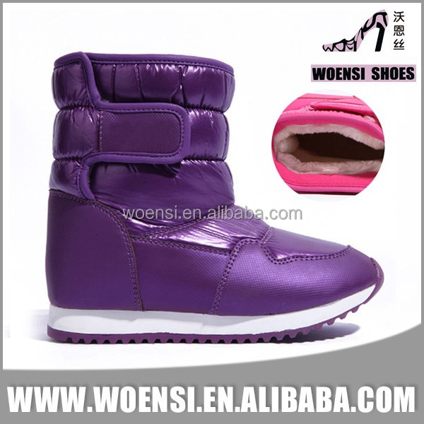 low price kids latest fashion purple no lace snow boots