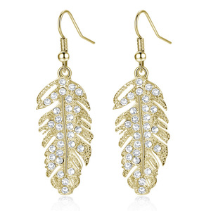 High Quality In Stock Europe bride adorn Bohemian tassel feather drill love wings leaves earrings