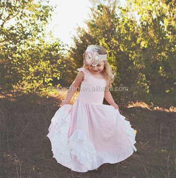 6632a258212 Comfortable Blush Flower Girl Dress Boho Style Cap Sleeve Long Maxi Dresses  Children Party Frock For