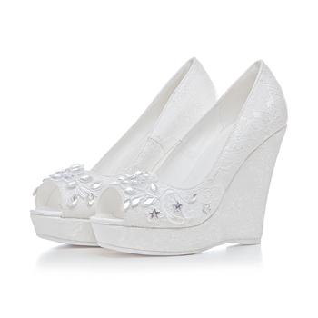 Fashion Women Peep Toes Fancy Summer Wedge Heel Wedding Bridal Sandals Shoes