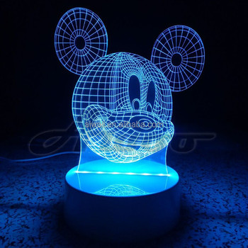 3D LED Lamp Rabbit Night Cartoon Mickey Mouse Blub