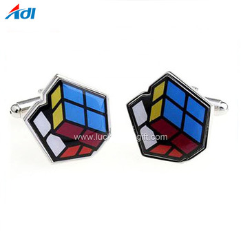 New design enamel Colorful Rubik's cube Square Cufflink for men