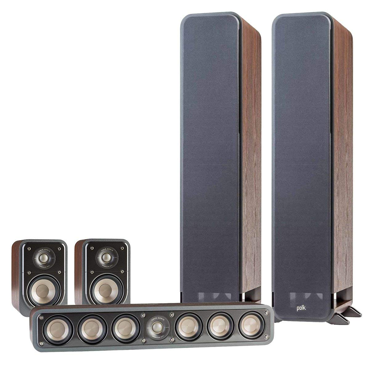 Polk Audio 5.0 Signature Series S60 Home Theater Package with S20 Bookshelf Speakers and S35 Slim Center Speaker (Classic Brown Walnut)