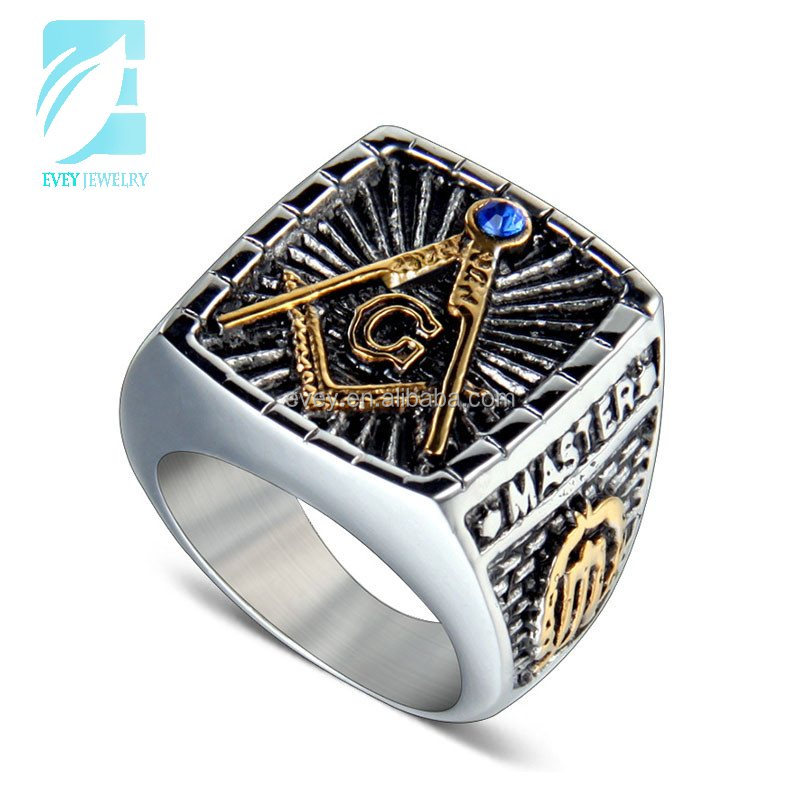 Evey <strong>silver</strong> and gold tones stainless steel mason ring for men