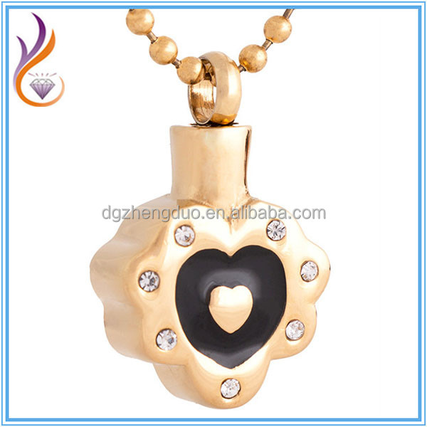 New Fashion Gold Plated Stainless Steel Urn Pendant Ash Memorial Necklace Chunky Heart Shape Cremation Jewelry