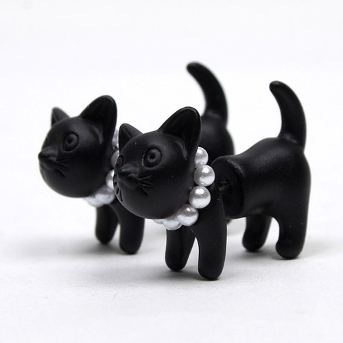 Cute cat pearl earrings, wholesale punk earrings online, gold silver colorful black cat earrings