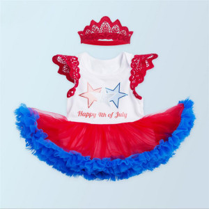 Baby girls 4th of July tutu romper skirt