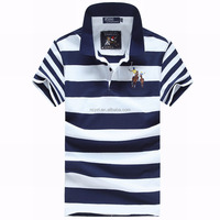 New design wholesale custom mens bulk striped blue white sublimation polo t shirts