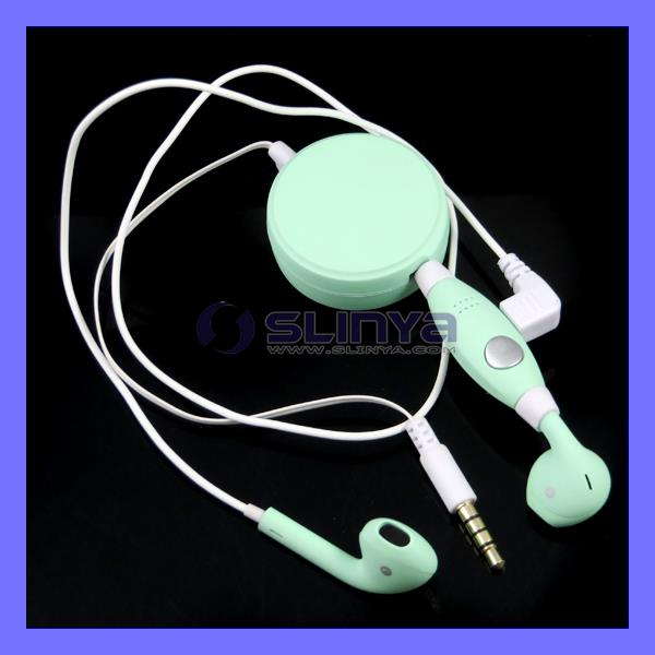 Cheap HI-End Green Retractable Single Earphone Earbud With Micphone