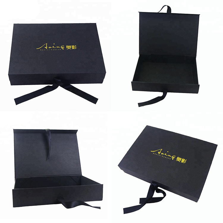Luxury foldable large rigid magnetic gift box, magnetic box with ribbon