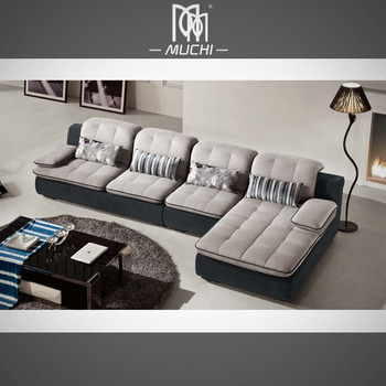 Soft Cotton Linen Italian Corner Sofa With Chesterfield