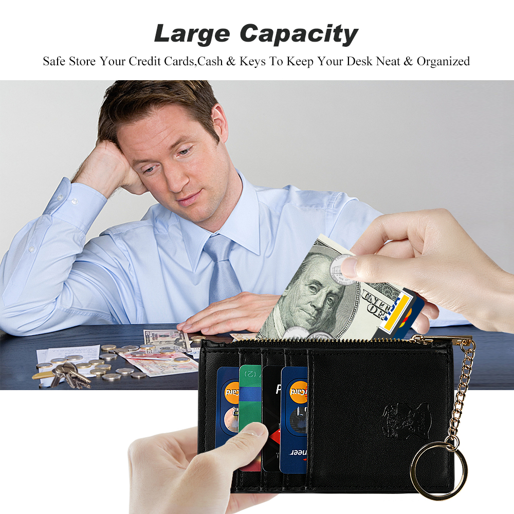 Wholesale Multi-Function Custom Logo Black Pu Leather Coin Purse Card Holder Wallet