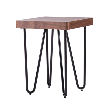Walnut wood mdf furniture bedside organizer metal leg coffee table for living room