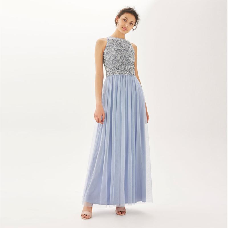 f7c7f63ef97b0 اسلوب جديد الموضة الترتر فساتين ماكسي ، أكمام الشيفون فستان السهرة الطويلة  للنساء