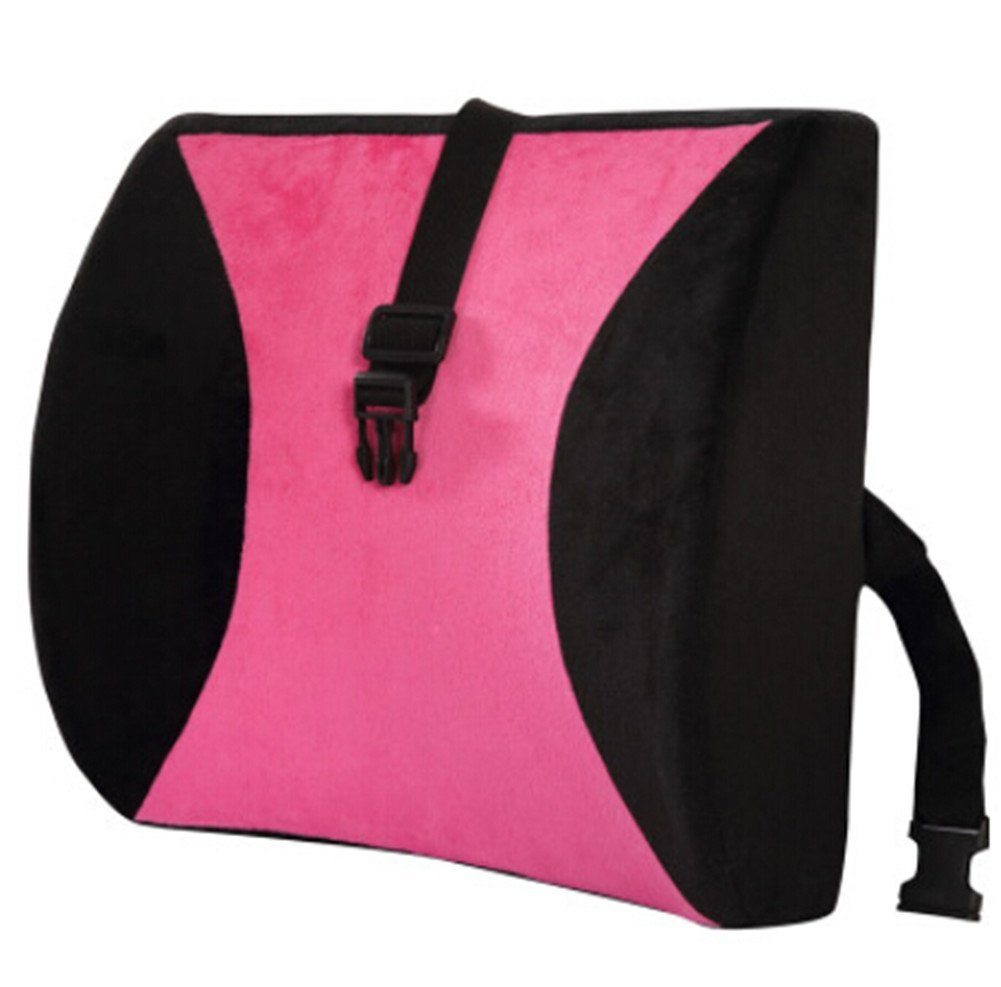 Moyishi Pink And Black High Resilient Memory Foam Seat Back Lumbar Cushion Support Pillow Car Office Chair Back Support