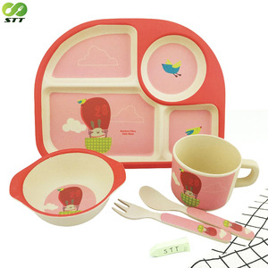 Food grade melamine 4 dividers baby feeding plate with printing service