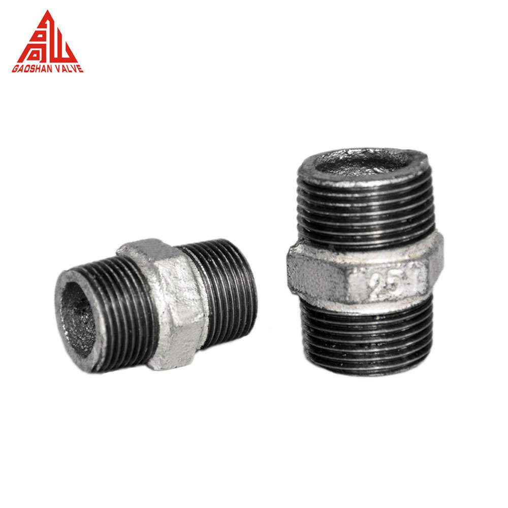 GI Galvanized Malleable Iron Threaded Hex Nipple Pipe Fitting