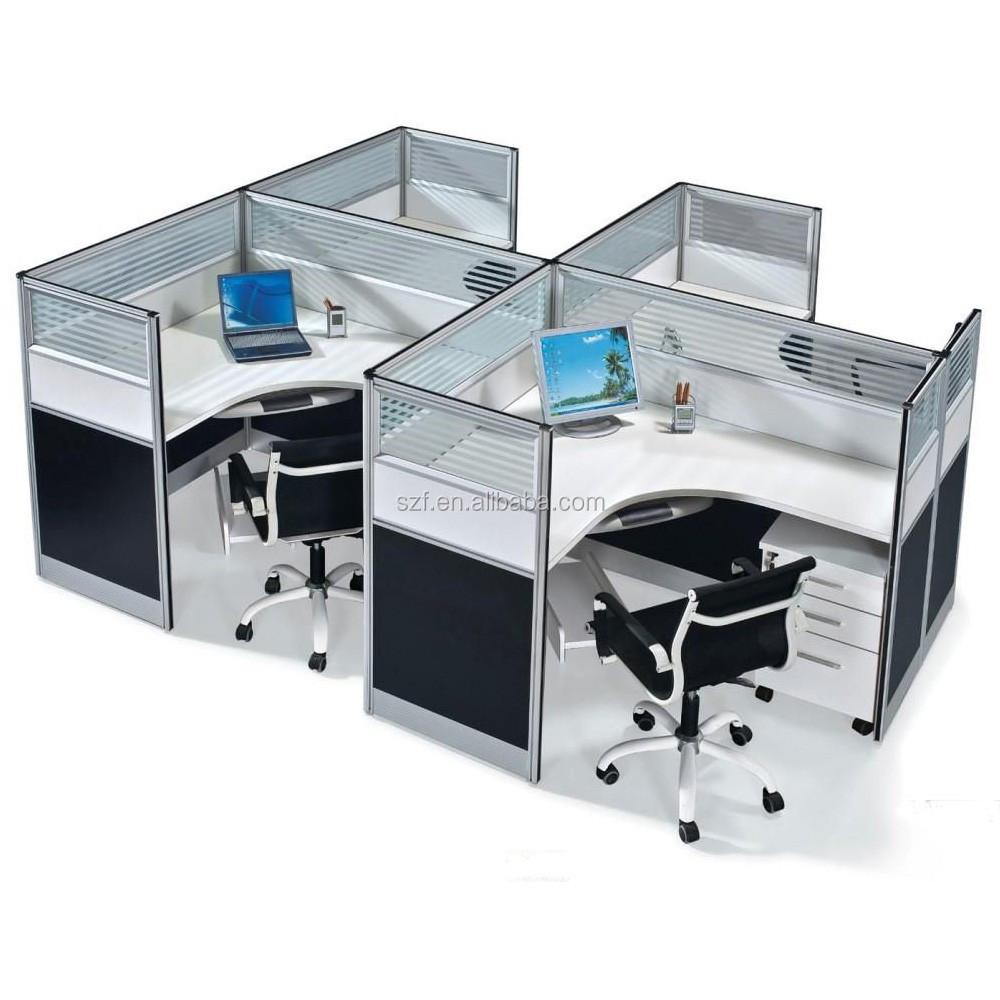 Modern L Shape Glass Cubicle Walls Melamine Office Desk