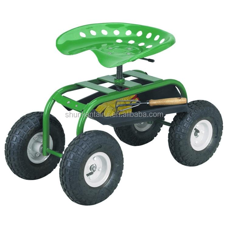 Garden Rolling Seat ,Deluxe Tractor Scoot With Bucket Basket