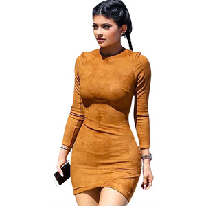 2019 spring European and American long sleeve dress casual lady deer suede leather bottoming sexy dresses A489