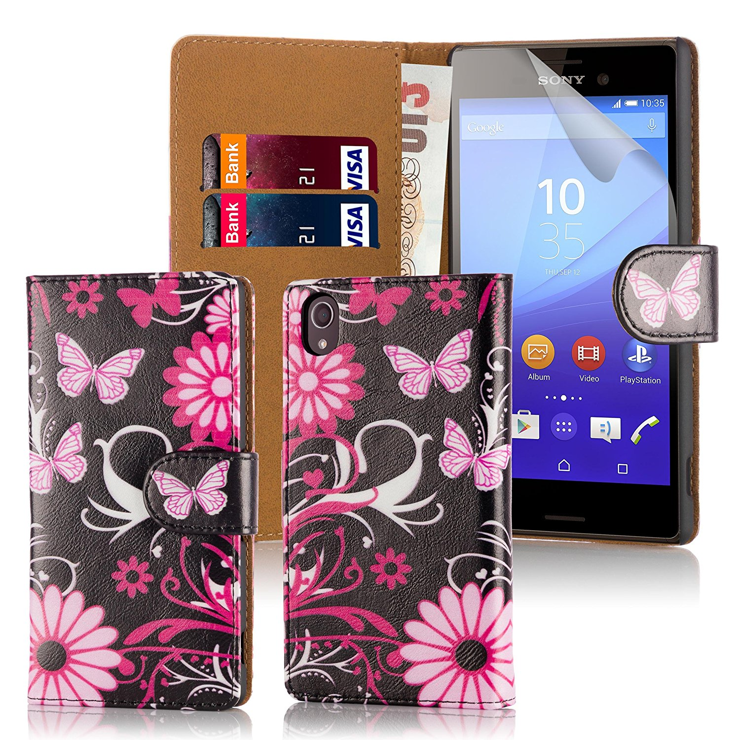 32nd® Design book wallet PU leather case cover for Sony Xperia M4 Aqua mobile phone - Gerbera