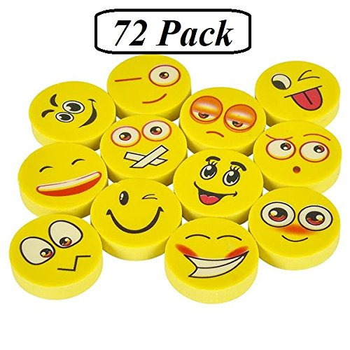 Emoji Erasers - 72 Pack - Cute Kids Emoticon Face Expressions Pencil Erasers - Fun School Supplies - Great As Gifts For Kids, Incentives, Prizes, Party Favors, Classroom Rewards – By Ecstatic Novelty