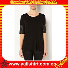 Custom newest top quality women's leather sleeve T shirt