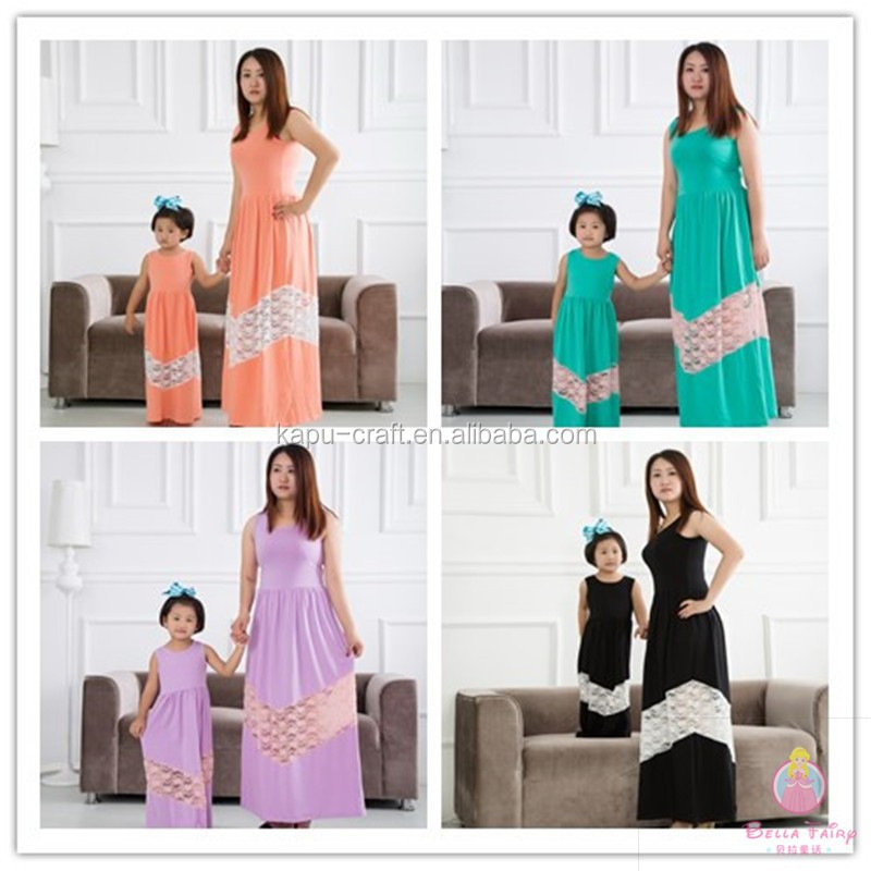 Bella fairy wholesale mommy and me maxi dress design latest family matching clothing long summer dresses