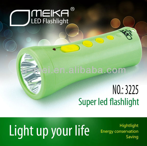 Hot sale and promotion / plastic material handle 3238 LED Flash Light / LED Torch with rechargeable