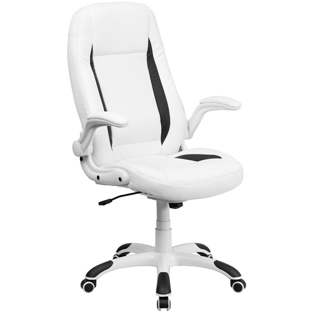 "Elmwood Bonded Leather High-Back Computer Chair Dimensions: 28""W x 30""D x 43.75-48""H Seat Dimensions: 19""Wx19""D White Bonded Leather Seat & Back/Black Bonded Leather Accents/White Nylon Base"