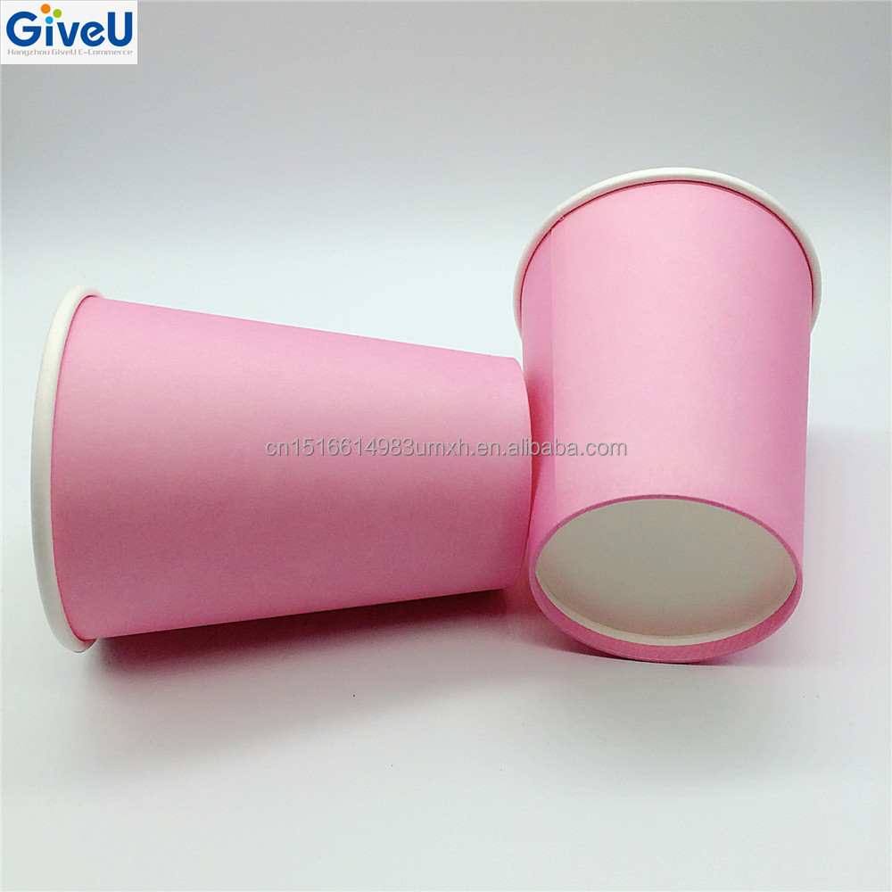 GiveU Hot Drinking 8oz Pink Color Low Price Disposable Paper Cup Juice Cup