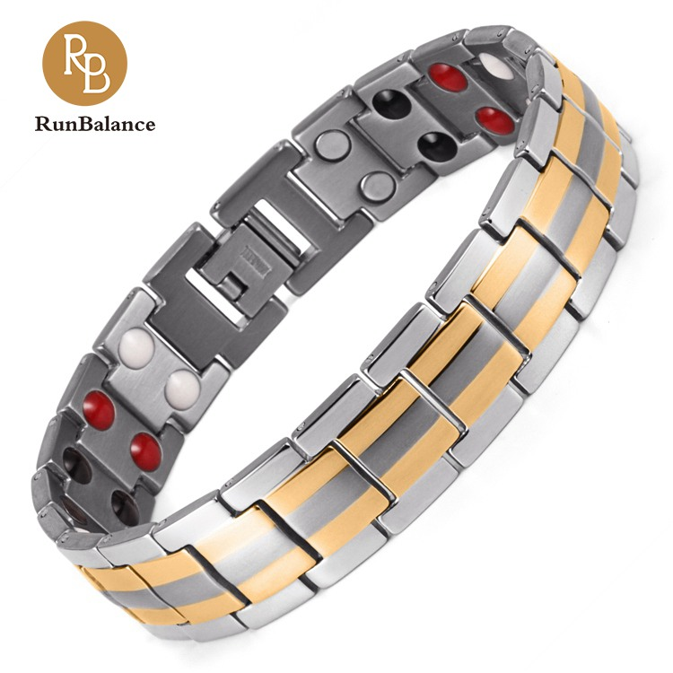 4 in 1 <strong>Energy</strong> Elements Silver Gold Plating Titanium Bio <strong>Magnetic</strong> <strong>Bracelet</strong> for Men