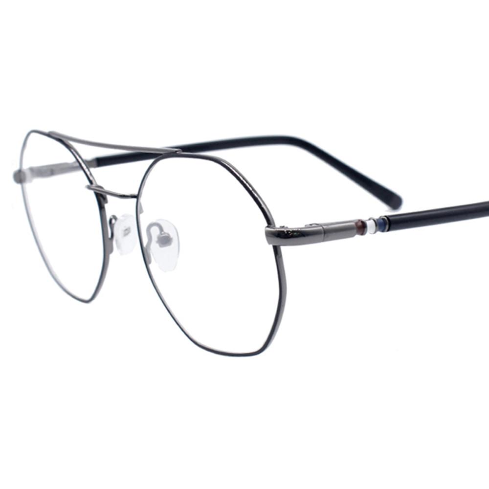 48eccc71892 Ultralight Octagon Optical Frame 2019 Fashion Women Men s Double Bridge  Demi Temple Spring Hinge Metal Eyeglass Frame