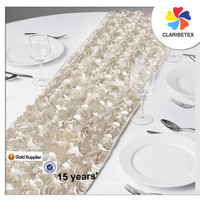 Ivory satin rosette embroider table runnerS for wedding