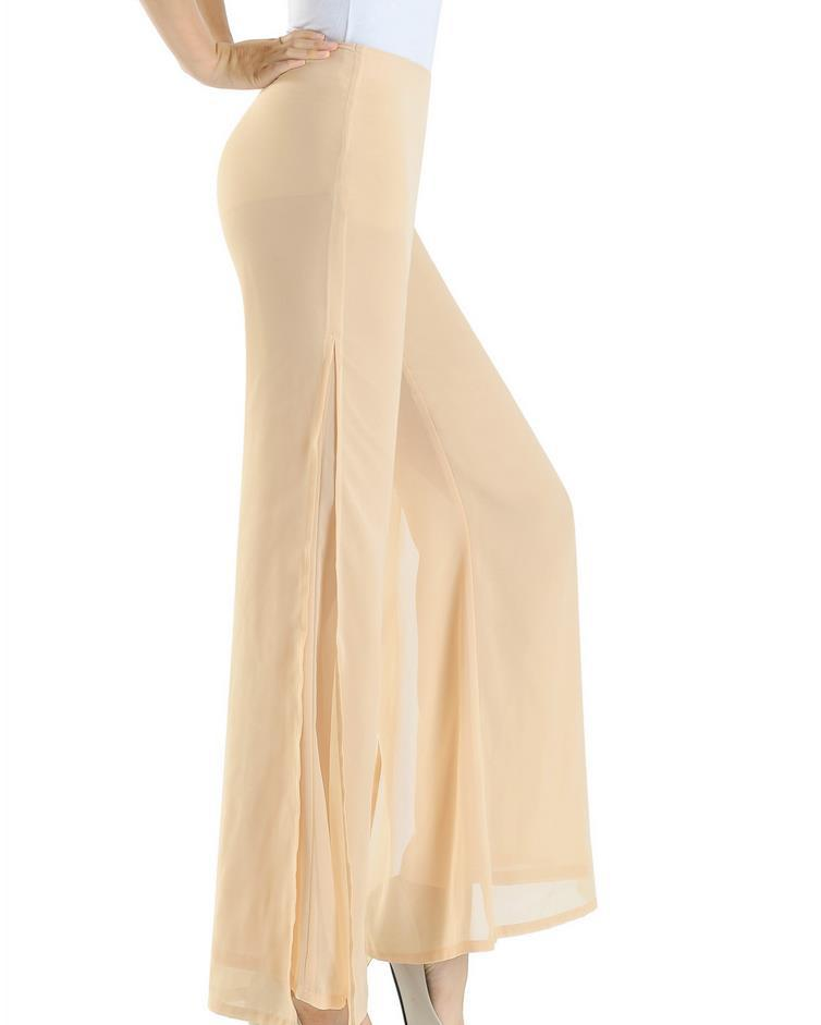 224c6697948a Get Quotations · 2015 summer women Straight wide leg chiffon joggers dress  pants beige side split trousers Ladies hip