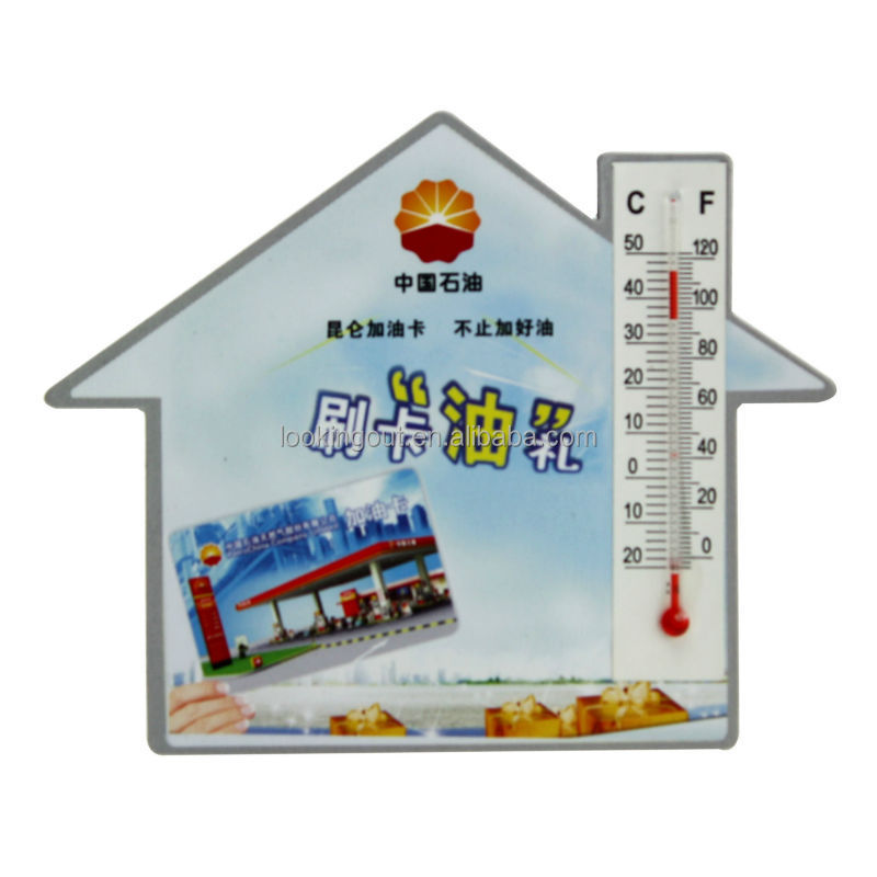 custom made house shape paper fridge magnet with thermometer