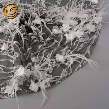 Fast delivery elegant feather decor mesh 3d flower floral embroidered tulle fabric