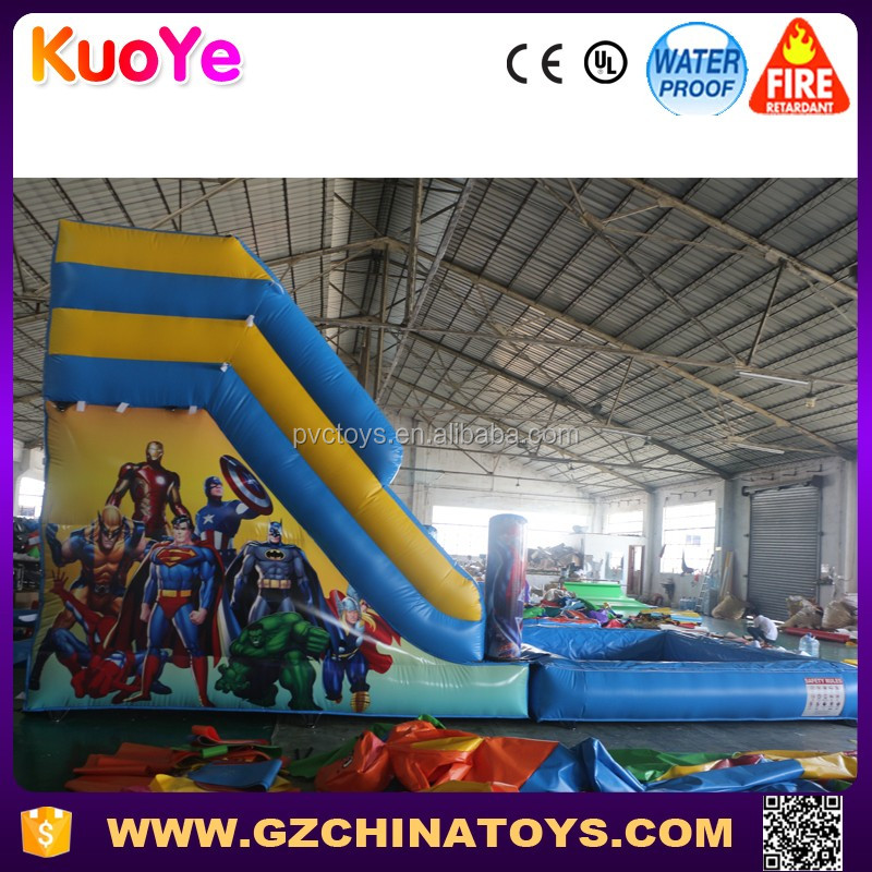 2016 hot sale justice league giant inflatable pool adult water slide for sale
