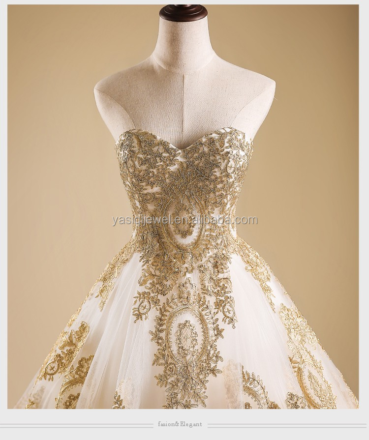 Alibaba top grade bridal gown gold lace flower tail for Guangzhou wedding dress market