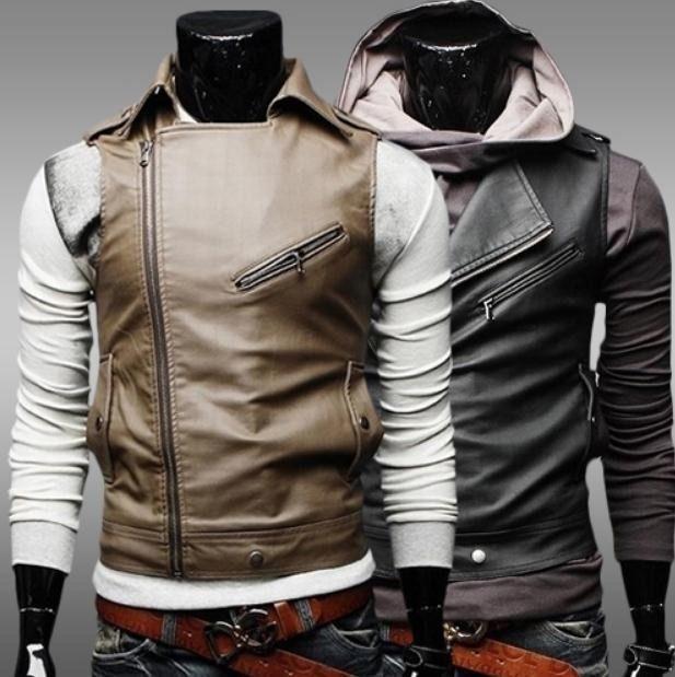 Eco German Leather Jacket Men Sleeveless