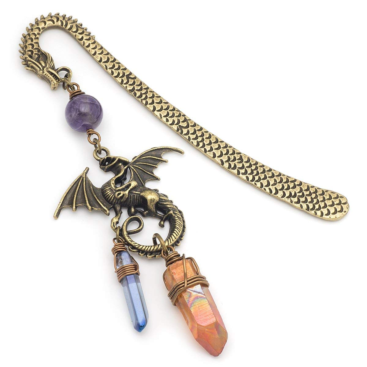 Amethyst and orange angel aura quartz point gemstone dragon bronze metal unique bookmark