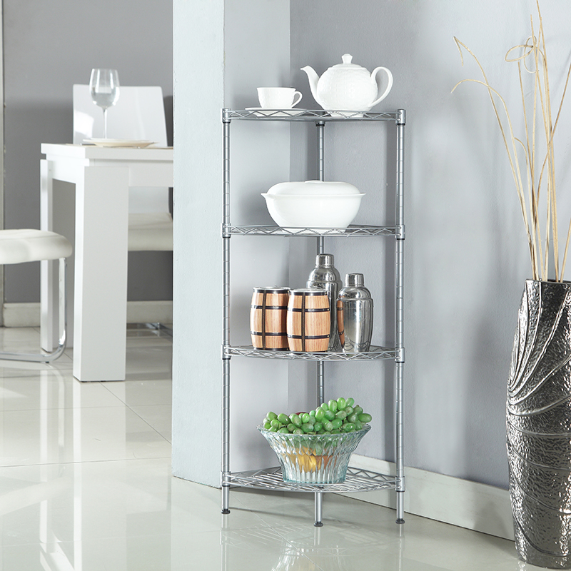 XM_243A DIY folding Adjustable Wire Storage bathroom Corner shelf Fan-shapec orner shelving unit