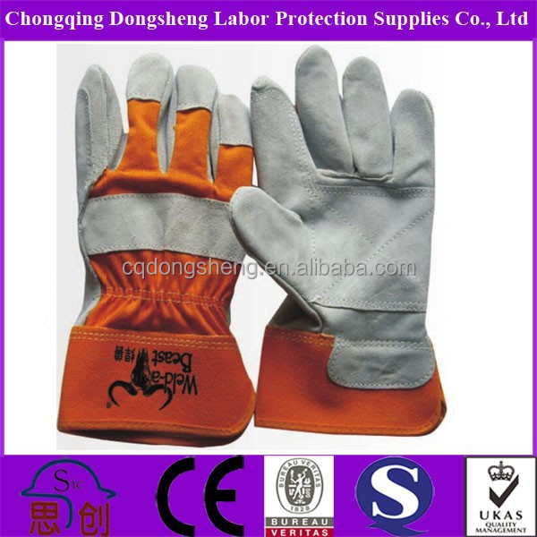 Orange Color Half Lined Industrial Leather Hand Gloves In Stock ...