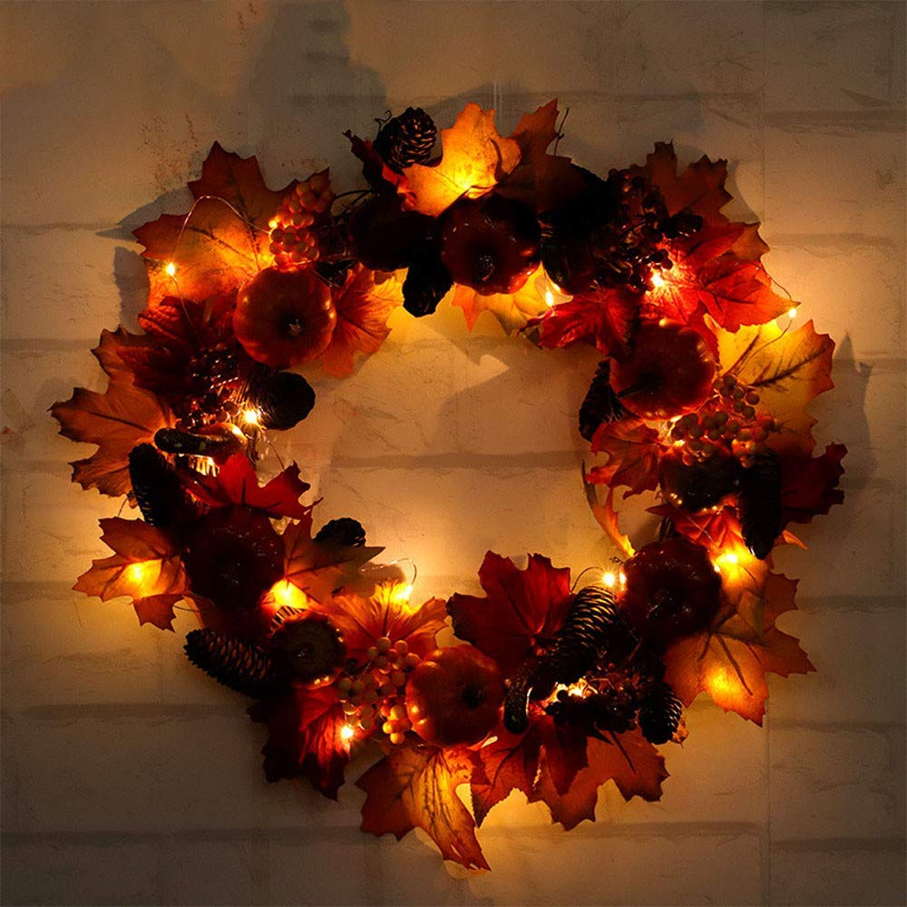 Pumpkin Harvest Silk Fall Front Door Wreath 23 inch, Cocal Beautiful Led Wreath Decor with Rich Fall Colors
