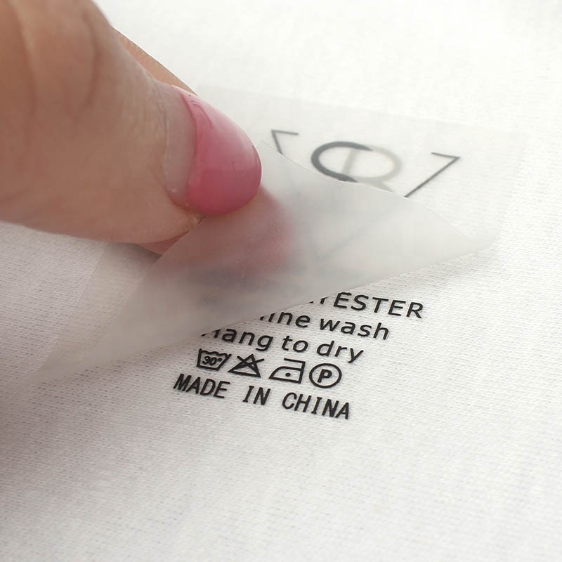 Wholesale Custom Brand Name Silk Screen Printing Heat Transfer Wash Care Neck Labels for T Shirts