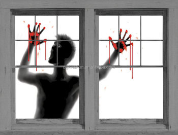 help me bloody hands window cling window poster halloween scary prop decoration new