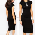 Design personalizado stretchy bodycon midi projeto senhoras desgaste little black dress moda