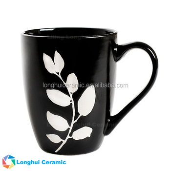 340ML housewarming gift sgraffit style handpaint pottery tea cup ceramic